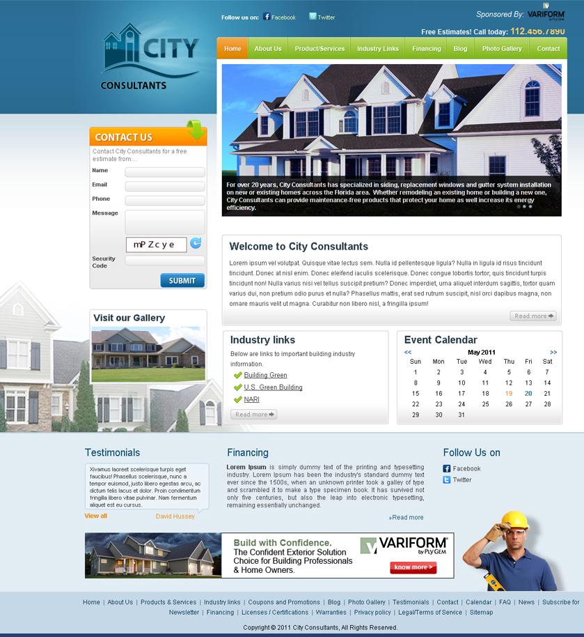 Site Template Contractors Variform Website Builder
